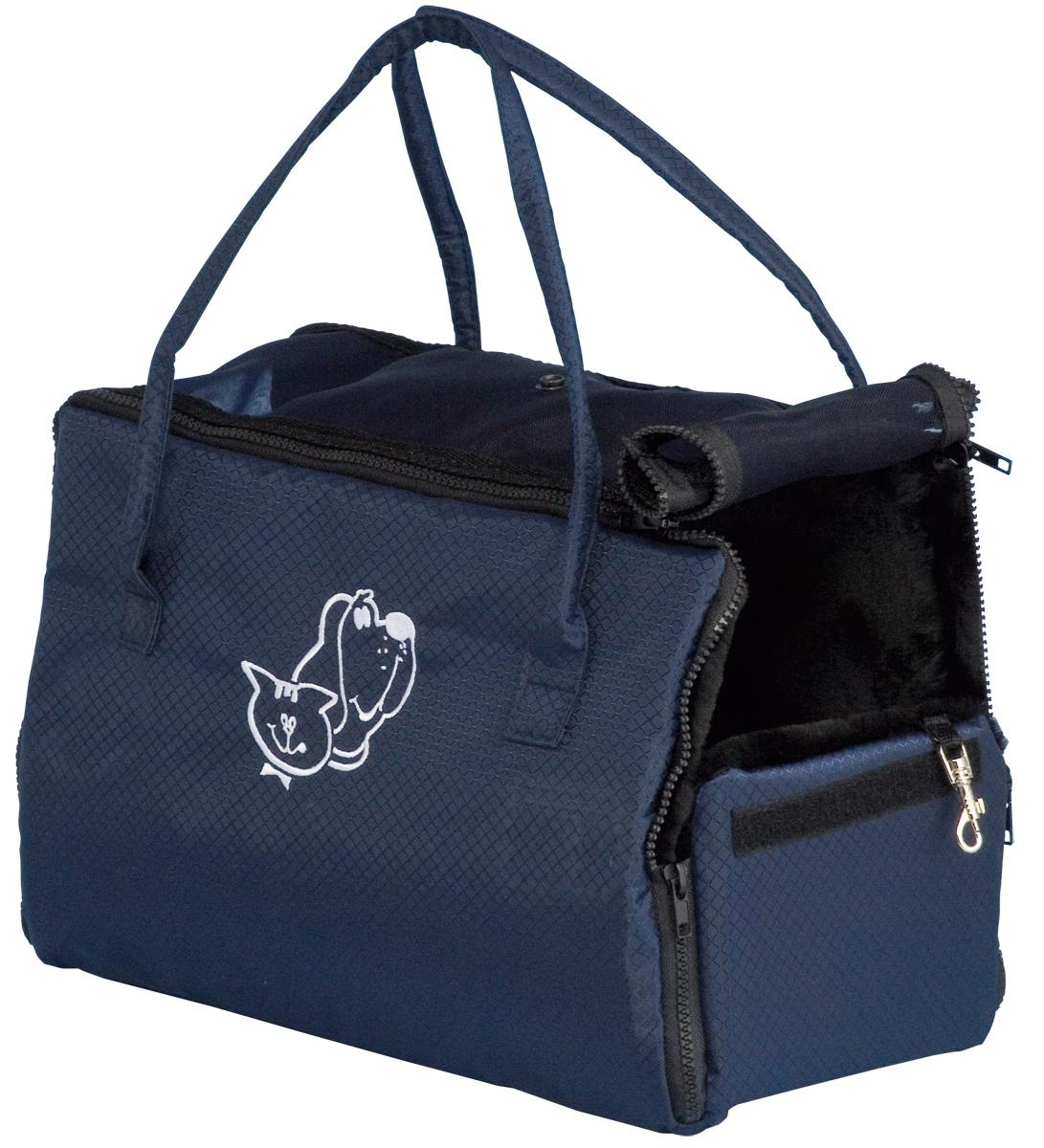 Сумка-переноска для животных Зооник, цвет: синий, 38 х 18 х 31 см2276Сумка-переноска Зооник с аппликацией собака и кошка изготовлена из высококачественной ткани ПВХ темно-синего цвета в мелкую клетку. Ткань водонепроницаема, легко поддается чистке. Сумка предназначена как для кошек, так и для собак мелких пород. Внутри сумка отделана искусственным мехом черного цвета. С одной стороны окошко с сеткой и с клапанами на кнопках. Внутри вшит поводок для крепления ошейника.Прикольные переноски, которые наверняка понравятся питомцу. Статья OZON Гид
