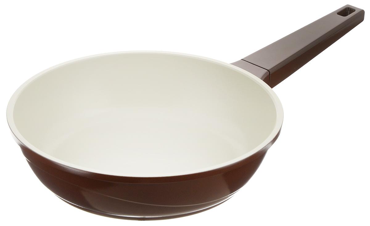 """Сковорода """"Biostal"""" выполнена из литого алюминия с многослойным керамическим покрытием Ceralon на основе натуральных компонентов швейцарского производства Ilag. Утолщенное дно изделия обеспечивает равномерное распределение тепла по всей рабочей поверхности. Ненагревающаяся эргономичная ручка из бакелита обеспечит удобный захват, превращая процесс приготовления пищи в удовольствие. Подходит для использования на газовых, электрических и стеклокерамических плитах, кроме индукционных. Можно мыть в посудомоечной машине.Диаметр сковороды: 24 см. Высота стенки: 6,5 см. Длина ручки: 19,5 см."""