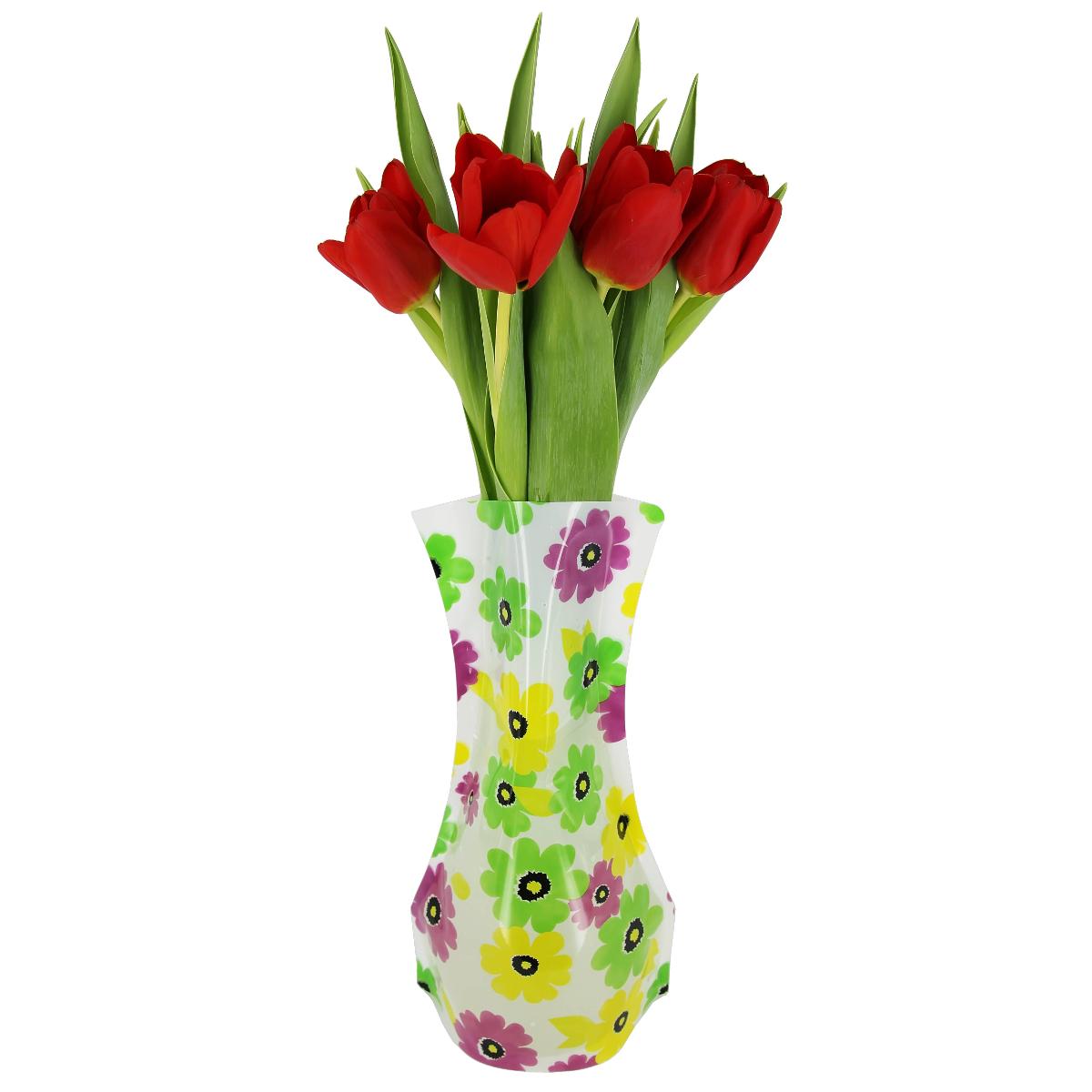 Ваза МастерПроф Желто-зеленые ромашки, пластичная, 1,2 л ваза мастерпроф черная орхидея пластичная 1 л