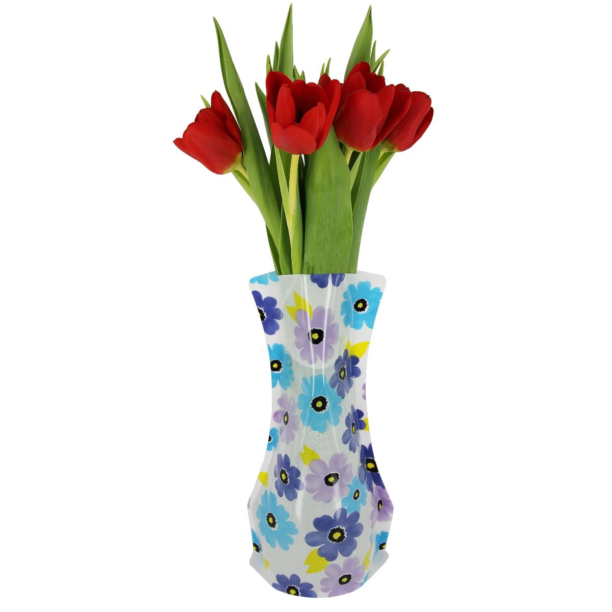Ваза МастерПроф Сине-фиолетовые ромашки, пластичная, 1,2 лHS.040028Пластичная ваза Сине-фиолетовые ромашки легко складывается, удобно хранится - занимает мало места, долго служит. Всегда пригодится дома, в офисе, на даче, для оформления различных мероприятий. Отлично подойдет для перевозки цветов, или просто в подарок.Инструкция: 1. Наполните вазу теплой водой;2. Дно и стенки расправятся;3. Вылейте воду;4. Наполните вазу холодной водой;5. Вставьте цветы.Меры предосторожности:Хранить вдали от источников тепла и яркого солнечного света. С осторожностью применять для растений с длинными стеблями и с крупными соцветиями, что бы избежать опрокидывания вазы.