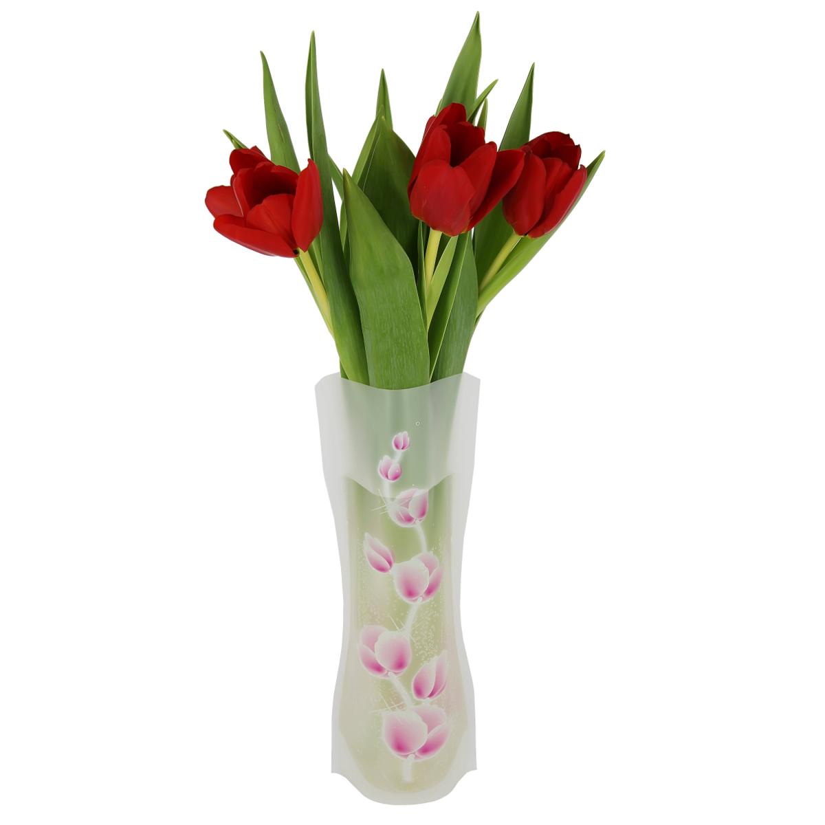 """Пластичная ваза """"Розовые пионы"""" легко складывается, удобно хранится - занимает мало места, долго служит. Всегда пригодится дома, в офисе, на даче, для оформления различных мероприятий. Отлично подойдет для перевозки цветов, или просто в подарок.Инструкция: 1. Наполните вазу теплой водой;2. Дно и стенки расправятся;3. Вылейте воду;4. Наполните вазу холодной водой;5. Вставьте цветы.Меры предосторожности:Хранить вдали от источников тепла и яркого солнечного света. С осторожностью применять для растений с длинными стеблями и с крупными соцветиями, что бы избежать опрокидывания вазы."""