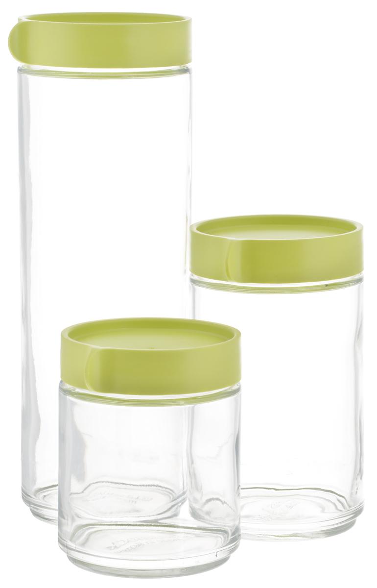Набор емкостей для сыпучих продуктов Glasslock, 3 шт. IG-588/GIG-588/GНабор Glasslock, изготовленный из высококачественного стекла и пластика, состоит из трех емкостей разного объема. Емкости прекрасно подойдут для хранения различных сыпучих продуктов: специй, чая, кофе, сахара, круп и многого другого. Изделия удобно ставятся друг на друга для экономии места на кухне. Емкости надежно закрываются крышками. Благодаря этому они будут дольше сохранять свежесть ваших продуктов.Функциональные и вместительные, такие емкости станут незаменимыми аксессуарами на любой кухне. Можно мыть в посудомоечной машине. Не рекомендуется использовать в духовом шкафу и микроволновой печи.Объем емкостей: 400 мл; 600 мл; 1,05 л. Диаметр емкостей (по верхнему краю): 7 см.Высота емкостей (с учетом крышек): 11 см; 15 см; 25 см.