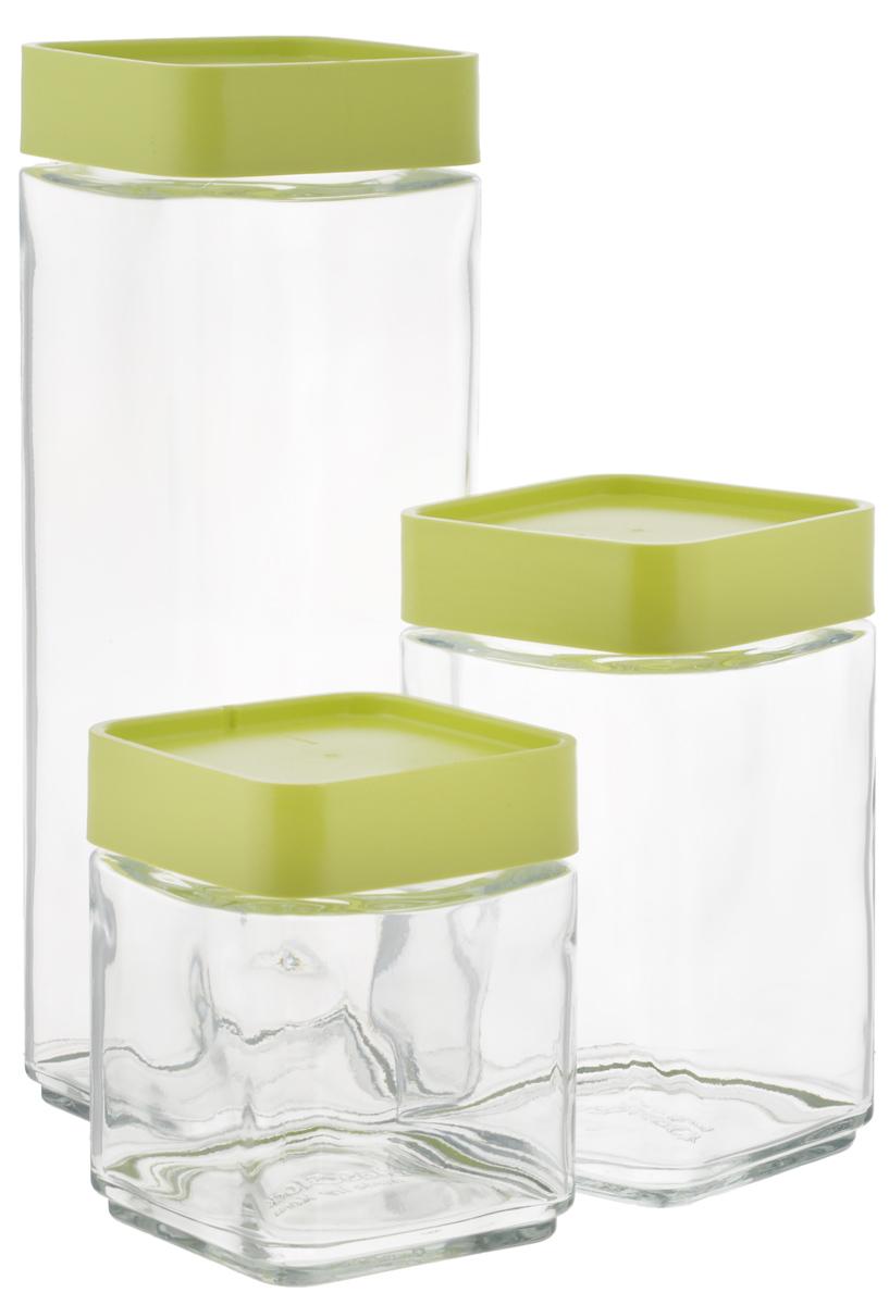 Набор емкостей для сыпучих продуктов Glasslock, цвет: прозрачный, светло-зеленый, 3 штIG-589/GНабор Glasslock состоит из трех емкостей для сыпучих продуктов. Изделия выполнены из экологически чистого закаленного ударопрочного стекла и оснащены пластиковыми крышками. Емкости удобно ставятся друг на друга для экономии места на кухне. Изделия плотно и герметично закрываются крышками, что позволяет продуктам дольше оставаться свежими, сохранять аромат и вкус. Благодаря прозрачным стенкам, можно видеть содержимое. Размер подходит для хранения в дверце холодильника. Такие емкости идеально подходят для хранения различных сыпучих продуктов: орехов, печенья, круп, хлопьев, варенья и многого другого. Можно мыть в посудомоечной машине. Подходят для хранения пищи в морозильнике и холодильнике. Не использовать в микроволновой печи и духовке.Комплектация: 3 шт. Объем емкостей: 500 мл; 700 мл, 1300 мл. Размер емкости 500 мл: 8,5 см х 8,5 см х 11 см. Размер емкости 700 мл: 8,5 см х 8,5 см х 15 см. Размер емкости 1300 мл: 8,5 см х 8,5 см х 25 см.