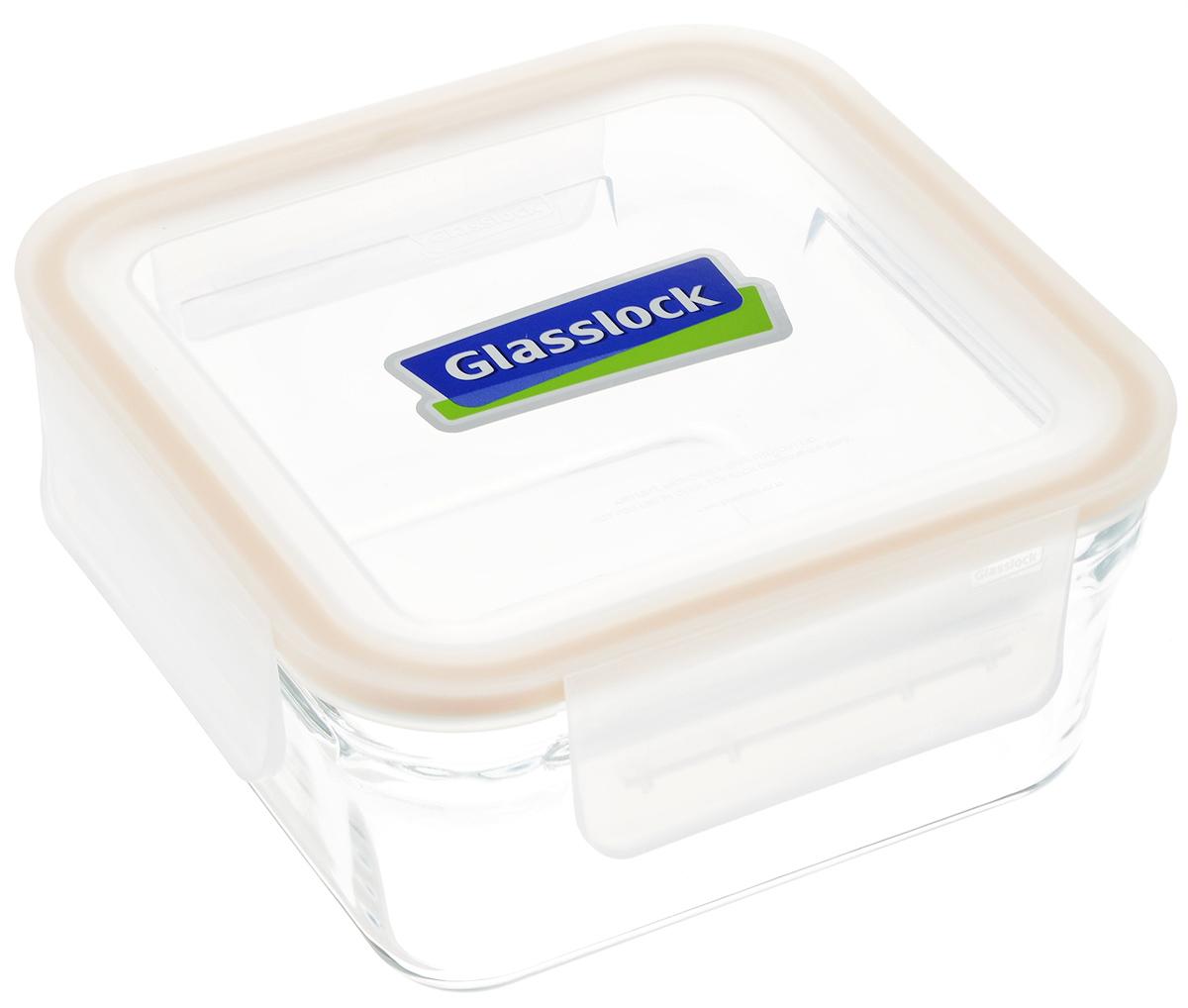 """Квадратный контейнер """"Glasslock"""" изготовлен из  высококачественного закаленного ударопрочного стекла.  Герметичная крышка, выполненная из пластика и снабженная  уплотнительной резинкой, надежно закрывается с помощью  четырех защелок.  Стеклянная посуда нового поколения от """"Glasslock""""  экологична, не содержит токсичных и ядовитых материалов;  превосходная герметичность позволяет сохранять свежесть  продуктов; покрытие не впитывает запах продуктов; имеет  утонченный европейский дизайн - прекрасное украшение  стола.  Подходит для мытья в посудомоечной машине, хранения в  холодильных и морозильных камерах, а также можно  использовать в  микроволновых печах. Размер контейнера (с учетом крышки): 16,5 х 16,5 х 8 см."""