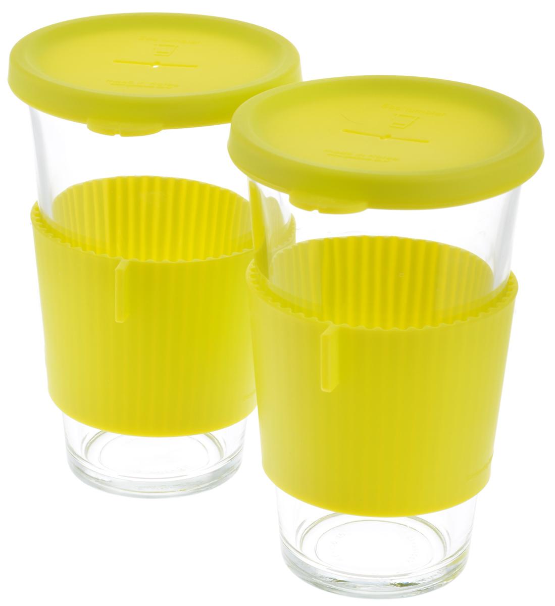 Набор стаканов Glasslock, цвет: прозрачный, салатовый, 500 мл, 2 штGL-1364Набор Glasslock, изготовленный извысококачественного термостойкого стекла, состоит из двухстаканов и двух силиконовых крышек. Крышка имеетотверстие для подвешивания пакетика чая. В таком стаканелучше всего заваривать чай и другие оздоровительныенапитки. Изделие имеет силиконовый держатель, дляпредохранения рук от высокой температуры напитка. Стакан Glasslock можно комфортно использовать на работеили вофисе, также взять с собой в путешествие, чтобы вашлюбимый чай был всегда с вами. Можно мыть впосудомоечной машине ииспользовать в микроволновой печи. Стаканы дляхранения напитков в холодильнике иморозильной камере. Не использовать в духовке. Диаметр стакана по верхнему краю: 9 см.Высота стакана (с учетом крышки): 15,5 см.