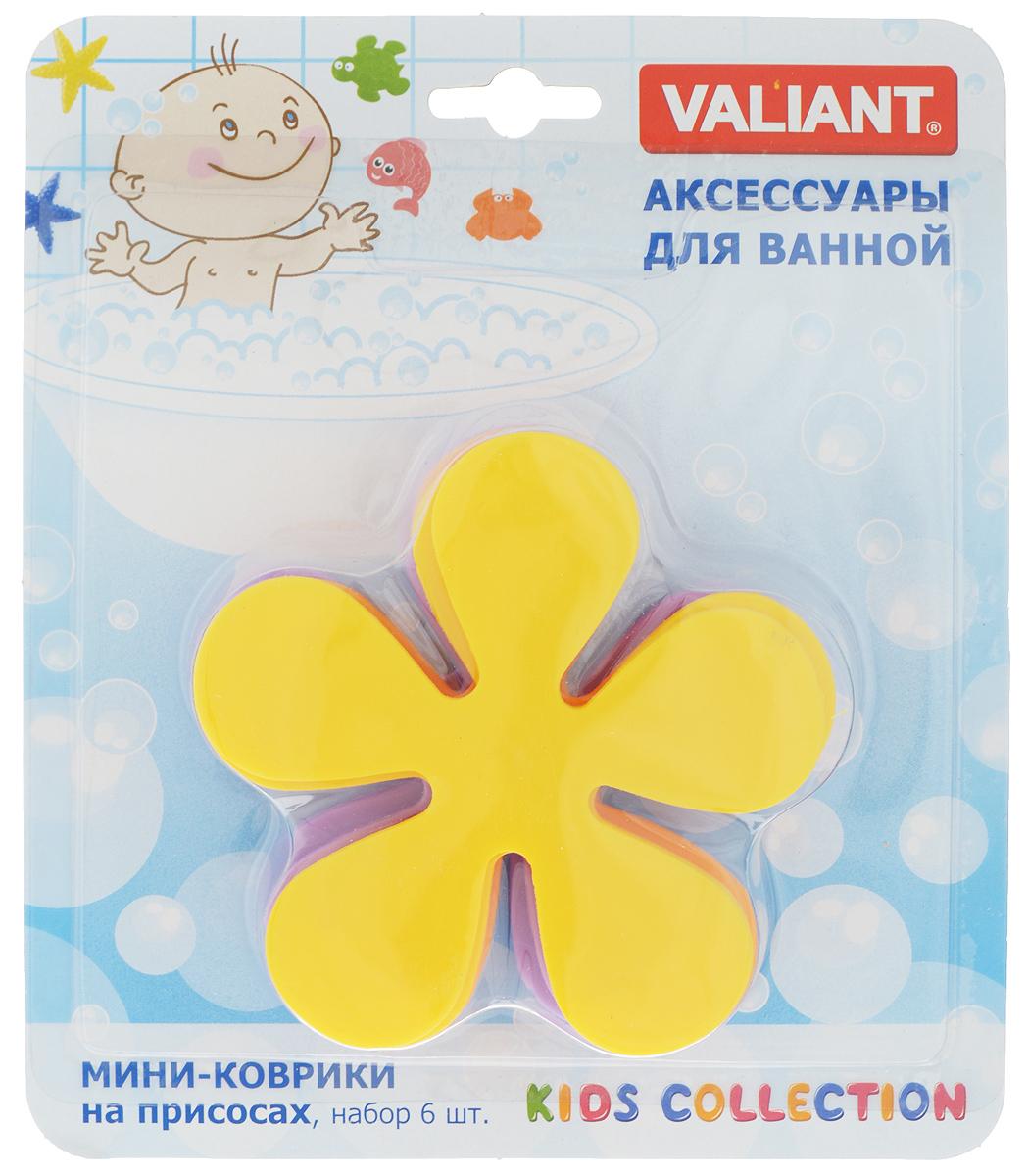 """Набор Valiant """"Цветок"""", выполненный из полимерных материалов высокого качества, состоит из 6 мини-ковриков в виде цветка. Мини-коврики - это модный и экономичный способ сделать вашу ванную комнату более уютной, красивой и безопасной. Изделия крепятся на любую поверхность с помощью вакуумных присосок. Вы сможете расположить их там, где вам необходимо яркое цветовое """"пятно"""" и одновременно - надежная противоскользящая опора. Такие мини-коврики незаменимы при купании маленького ребенка, он не поскользнется и не упадет, держась за мягкую и приятную на ощупь рифленую поверхность изделия.Размер мини-коврика: 10,5 х 10,5 см.Количество: 6 шт."""
