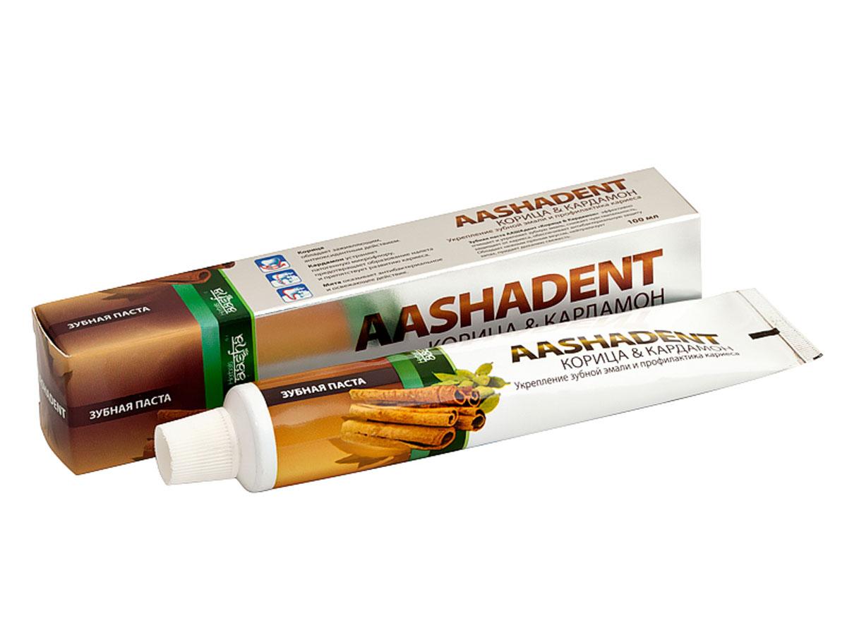 Aashadent Зубная паста Корица и Кардамон, 100 мл0841028005396Эффективно очищает зубную эмаль, снижает ее чувствительность, защищает от кариеса, обеспечивает антибактериальную защиту. Обладает нежным приятным вкусом, нейтрализует запахи, придает свежесть дыханию. Для чувствительной эмали зубов.