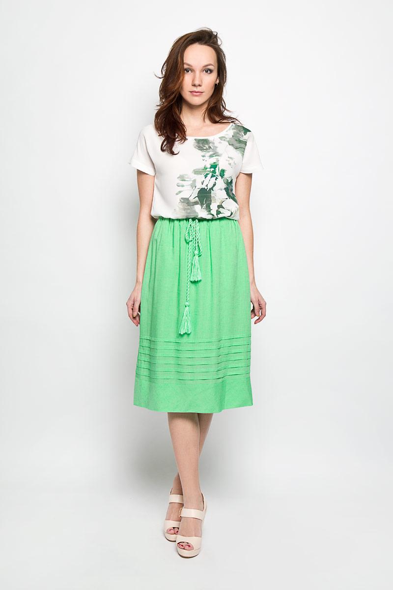 Юбка Baon, цвет: зеленый. B476032. Размер M (46)B476032_SUMMER MINTЭффектная юбка Baon, выполненная из вискозы и льна, обеспечит вам комфорт и удобство при носке. Юбка-миди имеет широкую эластичную резинку на поясе и дополнена завязками с кисточками. По бокам модели расположены втачные карманы. Модная юбка-миди выгодно освежит и разнообразит ваш гардероб. Создайте женственный образ и подчеркните свою яркую индивидуальность! Классический фасон и оригинальное оформление этой юбки сделают ваш образ непревзойденным.