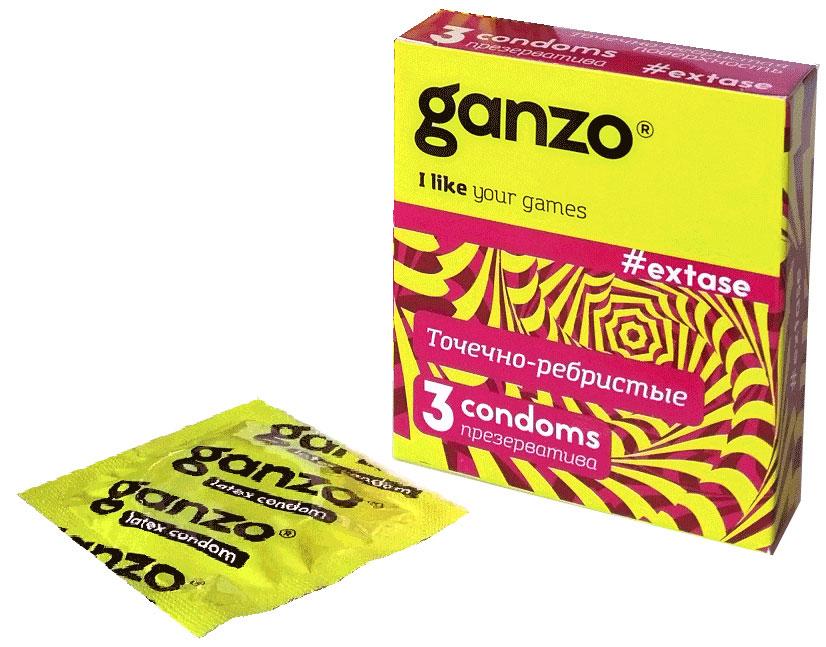 Ganzo Презервативы Extase, с точечной и ребристой поверхностью, 3 шт11005Прозрачные презервативы Ganzo Extase анатомической формы с силиконовой смазкойи накопителем имеют точечную и ребристую поверхность для максимальной стимуляции партнерши. Изготовлены из натурального высококачественного латекса. Проверены с использованием электростатической технологии для большей надежности.Характеристики:Материал презерватива: латекс. Количество презервативов: 3. Длина презерватива: 180 мм. Ширина презерватива: 52 ± 2 мм. Производитель: Великобритания. Товар сертифицирован.