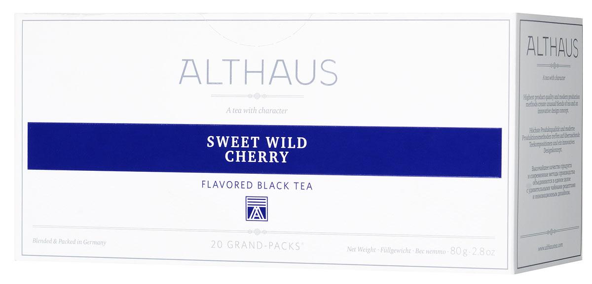 Althaus Grand Pack Sweet Wild Cherry ягодный чай в пакетиках, 20 штTALTHB-GP0047Althaus Sweet Wild Cherry (Сладкая Дикая Вишня) — превосходный купаж отборных сортов индийского и цейлонского черного чая с чарующим ароматом дикой вишни. Ягоды вишни от природы наделены неповторимым вкусом и пьяняще-сладким запахом, поэтому они идеально подходят для ароматизации чая. Сочетание кусочков спелой вишни с душистыми листьями ежевики и лепестками пурпурной розы составляет замечательный букет этого чая. Выразительный сладкий аромат сочных вишневых ягод доминирует в этой необычной композиции, уравновешивая крепость самого чая. Глубокий, блюзовый запах розы смягчает яркий вкус и завершает букет легкой цветочной нотой. Ощущение чистоты и свежести создают зеленые листья лесной ежевики. Ягоды вишни содержат витамины и органические кислоты, поэтому вишневый чай прекрасно тонизирует и укрепляет организм. Всё о чае: сорта, факты, советы по выбору и употреблению. Статья OZON Гид