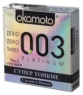 Okamоto Презервативы 0.03 Platinum, супер тонкие, 3 шт okamoto platinum презервативы самые тонкие латексные