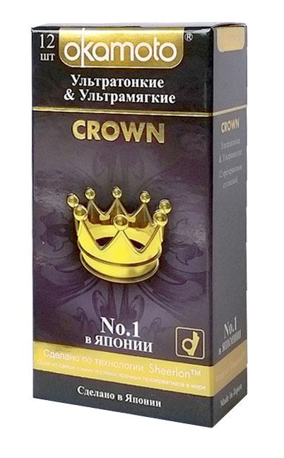 Okamоto Презервативы Crown, ультратонкие, ультрамягкие, 12 шт анальная пробка pretty love