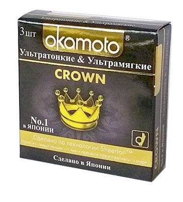 Okamоto Презервативы Crown, ультратонкие, ультрамягкие, 3 шт jissbon ультратонкие презервативы с дополнительной смазкой 12 шт