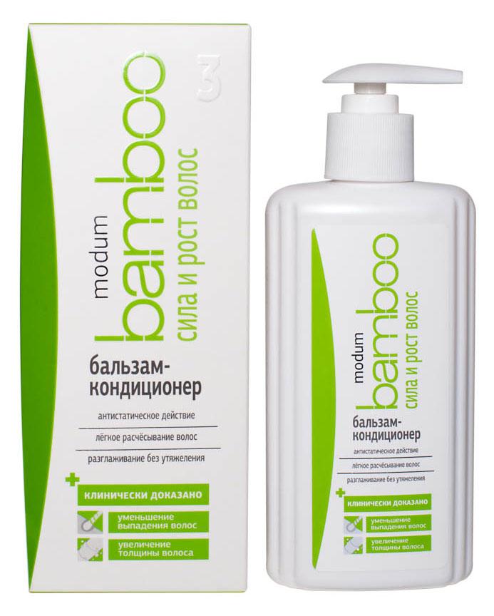 Modum Bamboo Бальзам-кондиционер Сила и Рост волос, 300 млC088-501Бальзам-кондиционер содержит специально подобранный комплекс кондиционирующих добавок, обладающих антистатическим действием, обеспечивающих легкость расчесывания как влажных так и сухих волос, придающих им особую шелковистость, гладкость и блеск. Благодаря своей нежной текстуре, бальзам легко распределяется и смывается с волос.Входящие в состав бальзама-кондиционера протеины Пшеницы и гидролизат Коллагена активно восстанавливают поврежденные участки волос, создавая на поверхности эластичную защитную пленку, предохраняющую стержень волоса от негативных воздействий. Увлажняющие компоненты (D-пантенол и Молочная кислота) обеспечивают насыщение и длительное удержание влаги внутри волос, делая их более плотными, упругими и блестящими. Экстракты Красного перца и Бамбука активно борются с выпадением волос за счет усиления микроциркуляции крови в прикорневой зоне, улучшая питание волосяных луковиц, продлевая стадию активного роста волос.