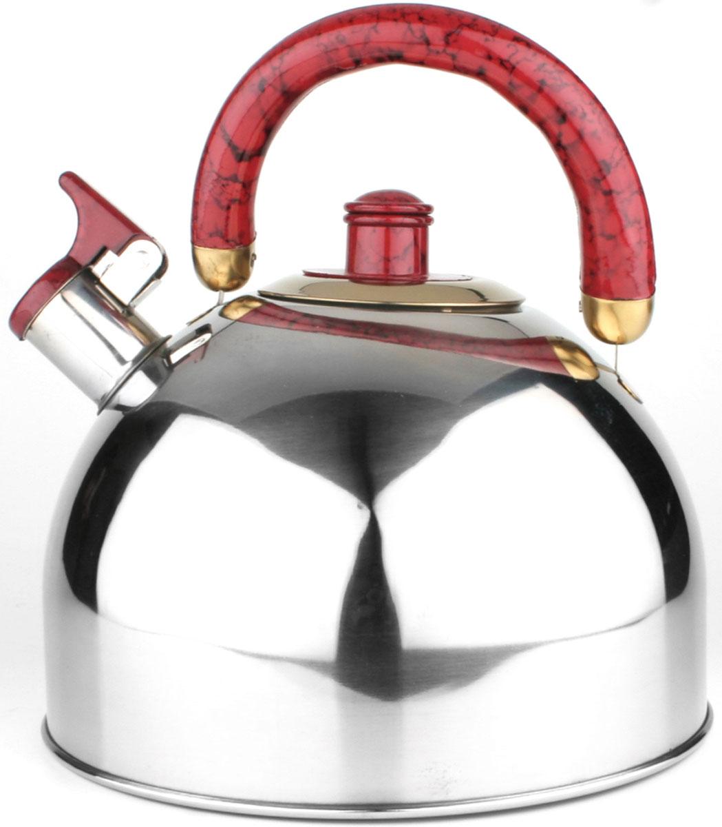 20440 Чайник нерж/сталь(5,5л) MB цветн/руч (х12)20440Чайник со свистком металлический (5,5 л)Материал: нержавеющая сталь, бакелит, литое дноРазмер упаковки: 22х20х22 смОбъем: 5,5 лВес: Чайник выполнен из высококачественной нержавеющей стали 18/10. Капсулированное дно с прослойкой из алюминия обеспечивает наилучшее распределение тепла. Носик чайника оснащен насадкой-свистком, что позволит вам контролировать процесс подогрева или кипячения воды. Пластиковая ручка зафиксирована, это дает дополнительное удобство при разлитии напитка, поверхность чайника гладкая, что облегчает уход, а блекс придает чайнику шикарный внешний вид. Чайник подходит для использования на всех типах плит. Эстетичный и функциональный, с эксклюзивным дизайном, чайник будет оригинально смотреться в любом интерьере. Также изделие можно мыть в посудомоечной машине.