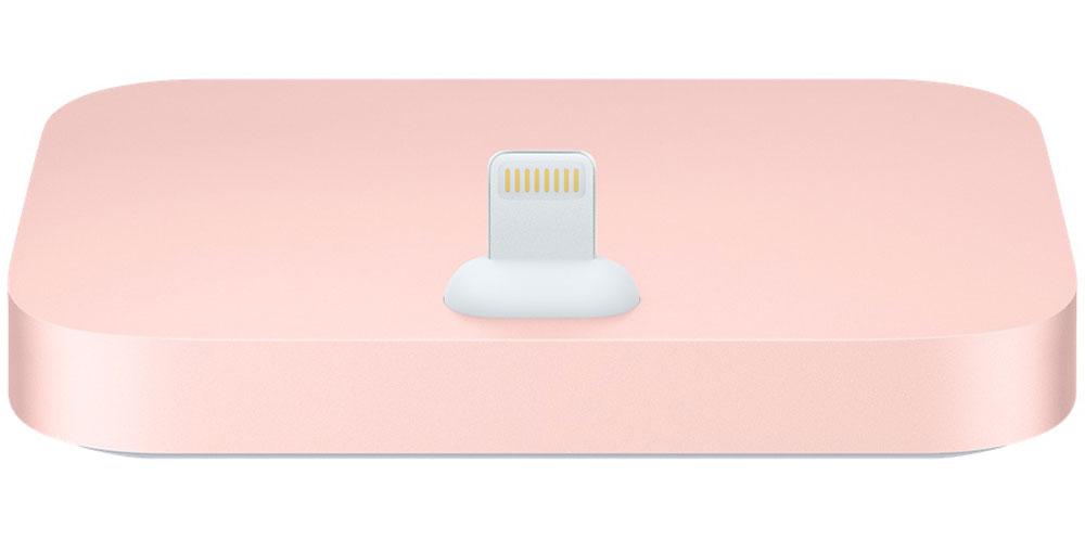 Apple iPhone Lightning Dock, Rose Gold док-станцияML8L2ZM/AДок-станция для iPhone с разъёмом Lightning выпускается в металлическом корпусе четырёх цветов, идеально сочетающихся с iPhone.Apple iPhone Lightning Dock позволяет заряжать и синхронизировать любой iPhone, обладающий разъемом Lightning. Во время зарядки и синхронизации устройство устанавливается на док-станцию вертикально, поэтому, куда бы вы его ни поставили, вам будет отлично виден экран. Смартфон легко устанавливается на док-станцию даже в чехле Apple. Кроме того, вы можете разблокировать iPhone или использовать Touch ID, не снимая его с док-станции.Поместите ваш iPhone на док-станцию и разговаривайте по громкой связи - качество звука будет превосходным. Вы также можете подключить док-станцию к компьютеру по USB-кабелю (входит в комплект поставки iPhone) для зарядки и синхронизации.При помощи разъема 3,5 мм можно прослушивать музыку во время зарядки и синхронизации. Подключите к док- станции активные динамики или стереосистему с помощью кабеля 3,5 мм (продаётся отдельно), чтобы слушать на iPhone музыку и подкасты.