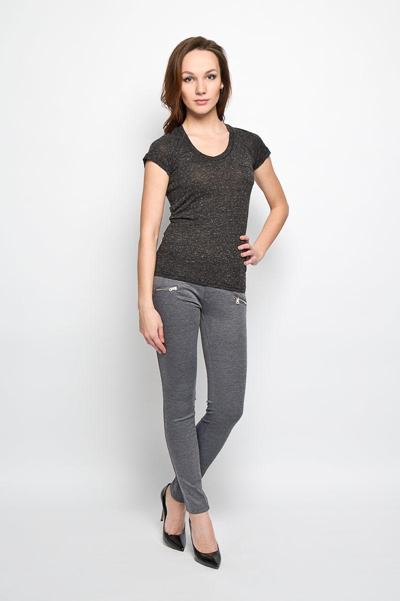 Брюки женские Moodo, цвет: серый меланж. L-SP-2008 GREY MEL. Размер M (46) футболка женская moodo цвет белый сиреневый серый l ts 2045 white размер m 46