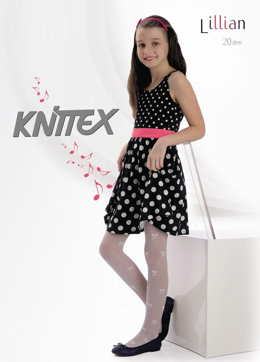 Колготки для девочки Knittex Lillian, цвет: белый. Размер 116/122, 6-7 летLillianКолготки для девочки Knittex Lillian тонкие и приятные на ощупь, они выполнены из высококачественного материала и оформлены узором в виде бантиков. Эластичные швы и мягкая резинка на поясе не позволяют изделию сползать, и при этом, не будут стеснять движений. Входящие в состав ткани полиамид и эластан предотвращают растяжение и деформацию после стирки.
