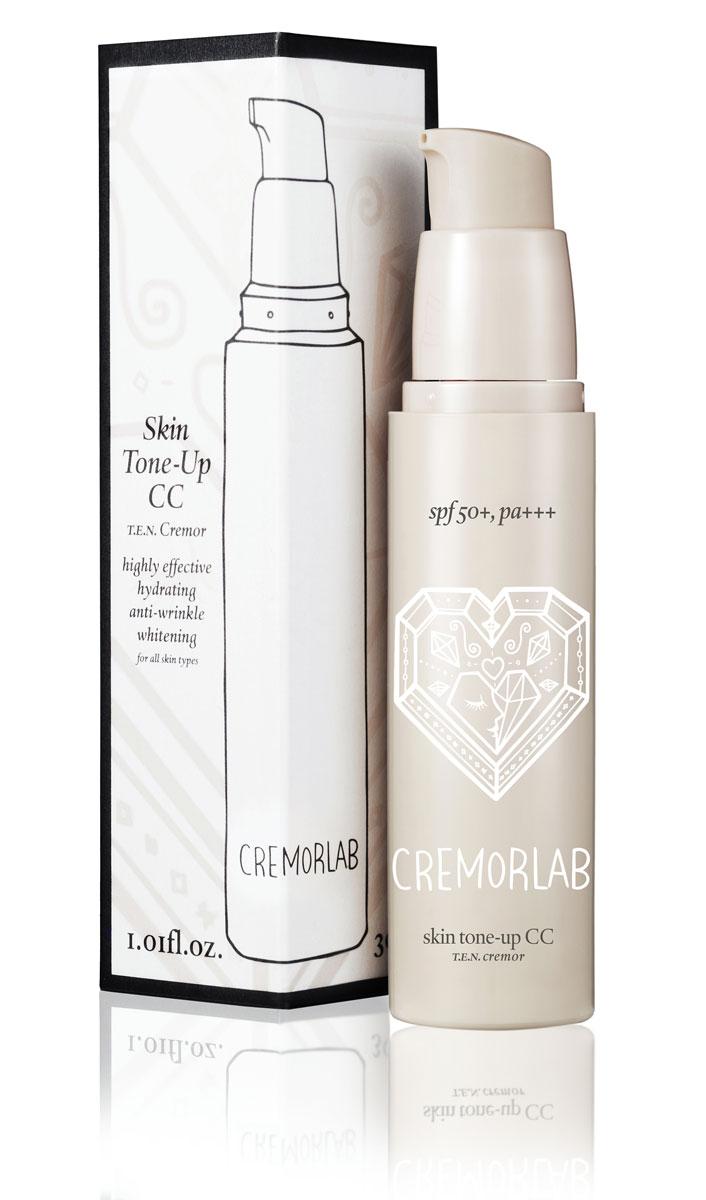 Cremorlab T.E.N. Cremor CC Крем Skin Tone-Up CC, SPF50+, 30 мл61348Выравнивающий дневной крем с легким тональным эффектом. Обладает нежной текстурой с высокой степенью покрытия и создает удивительно естественный и совершенный тон кожи, идеально маскирует расширенные поры и морщины, неоднородность тона, и другие дефекты кожи, не создавая эффекта маски. Микроскопические цветные капсулы рассыпаются при попадании на кожу, подстраиваются к ее цвету и создаются покрытие-основу для безупречного макияжа в течение всего дня, а также уменьшает трансэпидермальный уровень потери влаги. Активные ингредиенты натурального и растительного происхождения способствуют восстановлению кожи, обеспечивают пролонгированное увлажнение на весь день. Крем успокаивает, ухаживает, контролирует выделение себума, защищает от негативного воздействия окружающей среды и от воздействия UV лучей (SPF50+, PA+++) сохраняя молодость вашей кожи.