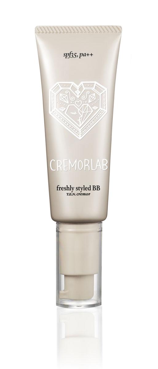 Cremorlab T.E.N. Cremor BB-крем, увлажняющий Freshly Styled BB, 40 мл61362Выравнивающий, увлажняющий крем с тональным эффектом. Обладает легкой текстурой с низкой и мягкой плотностью покрытия. Насыщает влагой и уменьшает глубину морщин. Воплощает в себе важные этапы ухода за кожей: восстановление, увлажнение, питание, регенерацию, поглощение излишков себума и минимизацию блеска, успокаивает, обеспечивает эффект ровной, шелковистой кожи. Не провоцирует образование комедонов. Защищает от воздействия UV лучей (SPF 35) и других негативных факторов. Обеспечивает безупречное покрытие в течение всего дня, без эффекта маски. Подходит для всех типов кожи, особенно обезвоженной.