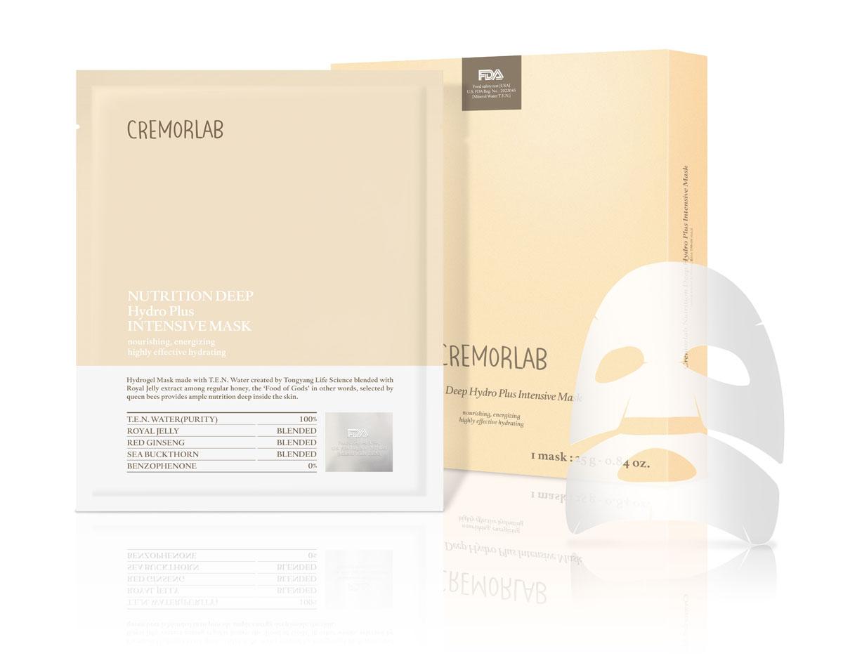 Cremorlab Маска питательная, с экстрактом маточного молочка пчел Nutrition Deep Hydro Plus Intensive Mask68125Гидрогелевая маска класса премиум способствует глубокому проникновению и усвоению питательных веществ, влаги, витаминов, аминокислот и минералов из маточного молочка пчел в глубокие слои кожи. Маска на тканой основе из 100% экологически чистой натуральной целлюлозы, не содержит парабенов. Является источником Омега-7 (пальмитолеиновой кислоты), одного из главных и самых редких элементов кожи. Глубоко питает, улучшает упругость и тургор кожи, снимает раздражения и покраснения, препятствует чрезмерному испарению влаги. Прекрасный результат на утомленной и поврежденной коже, положительно влияет на функциональное состояние кожи, оставляя ее нежной и бархатистой даже после первого применения. Подходит для всех типов кожи, гипоаллергенна. Объем: 5 штук по 25 грамм