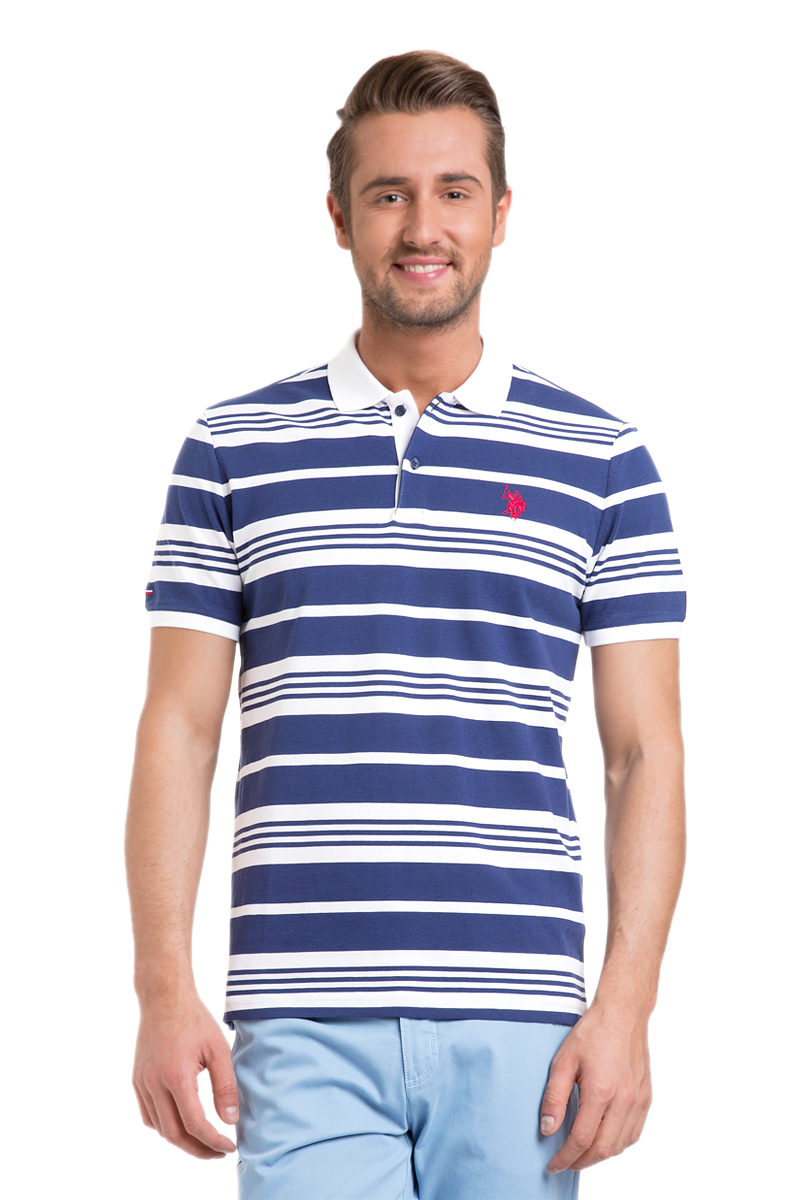 Поло мужское U.S. Polo Assn., цвет: темно-синий, белый. G081GL0110BATIR_LC0023. Размер L (50/52)