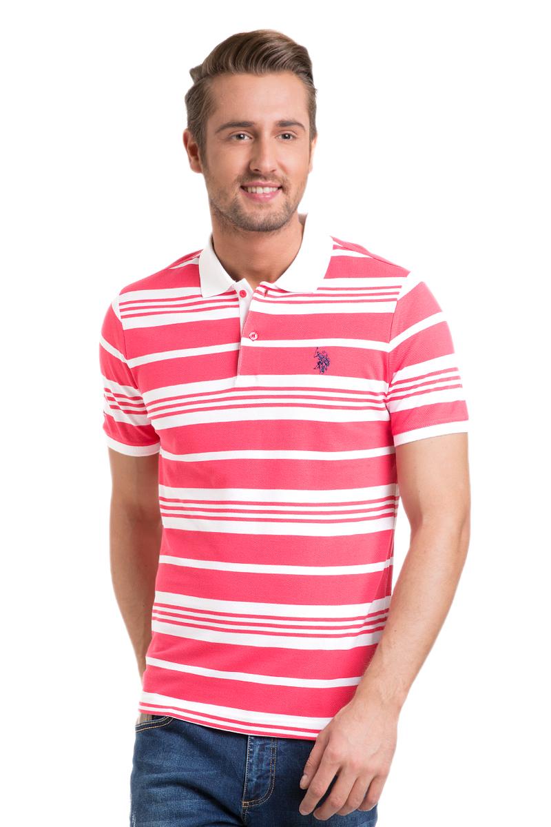 Поло мужское U.S. Polo Assn., цвет: ярко-розовый, белый. G081GL0110BATIR_PB0012. Размер S (44/46) поло женское u s polo assn цвет белый g082cs011u02tp15iy4 размер xs 42