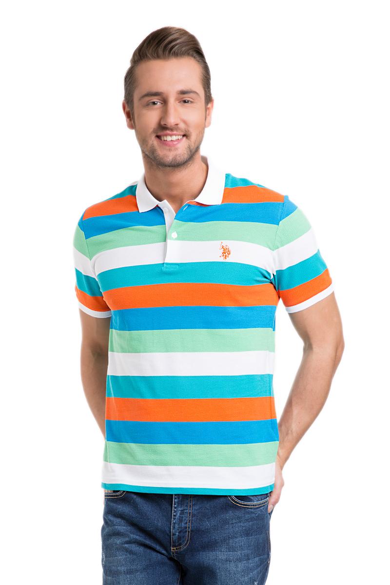 Поло мужское U.S. Polo Assn., цвет: зеленый, голубой, оранжевый, белый. G081GL0110BIGTAYT_YS0604. Размер L (50/52)G081GL0110BIGTAYT_YS0604Мужское поло U.S. Polo Assn. выполнено из натурального хлопка. Футболка с отложным воротником и короткими рукавами застегивается сверху на пуговицы. Воротник и края рукавов изготовлены из трикотажной резинки. Модель оформлена контрастными полосками, украшена вышитым логотипом бренда.