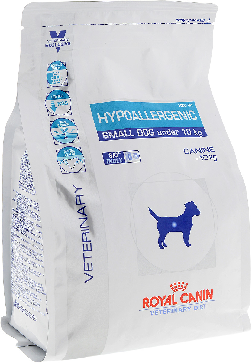 Корм сухой диетический Royal Canin Hypoallergenic HSD 24 для собак весом от 1 до 10 кг, при пищевой аллергии или непереносимости, 1 кг сухой корм royal canin hypoallergenic dr21 canine диета при пищевой аллергии для собак 2кг 602020
