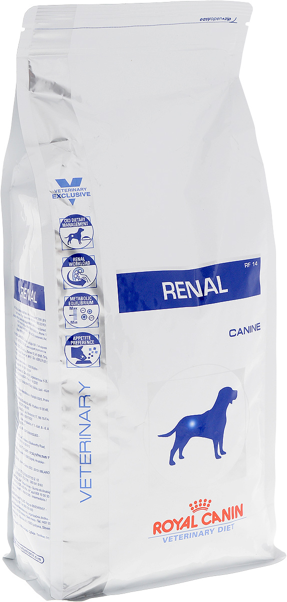 Корм сухой диетический Royal Canin Renal RF14 для собак при хронической почечной недостаточности, 2 кг22252Формула корма Royal Canin Renal RF14 специально разработана для поддержания почечной функции при ХПН. Продукты отличаются низким содержанием фосфора, содержат комплекс антиоксидантов, жирные кислоты ЕРА и DHA. При ХПН почки теряют способность надлежащим образом выводить фосфор. Низкое содержание фосфора в продукте способствует замедлению развития болезни. При кормлении диетическим кормом с адаптированным содержанием рыбьего жира (источника незаменимых жирных кислот ЕРА и DHA) повышается скорость клубочковой фильтрации. Высокое качество и адаптированное содержание белков способствуют снижению нагрузки на почки. Если содержание белка в рационе значительно превышает минимальные потребности, при сниженной экскреторной функции почек продукты распада азота накапливаются в биологических жидкостях. ХПН может привести к метаболическому ацидозу, поэтому в состав продуктов входят подщелачивающие вещества. Почки играют важнейшую роль в поддержании кислотно-щелочного баланса. При нарушенной функции почек их способность к выведению ионов водорода снижена, в связи с чем высок риск метаболического ацидоза.Специально разработанный ароматический профиль помогает удовлетворить особые вкусовые предпочтения собаки. Симптомы потери аппетита, отвращения к корму, анорексии довольно часто наблюдаются у животных с ХПН.Состав: рис, кукурузная мука, животные жиры, кукурузная клейковина, кукуруза, гидролизат белков животного происхождения, свекольный жом, пшеничная клейковина, минеральные вещества, рыбий жир, растительная клетчатка, соевое масло, фруктоолигосахариды, оболочки и семена подорожника, экстракт бархатцев прямостоячих (источник лютеина).Товар сертифицирован.Чем кормить пожилых собак: советы ветеринара. Статья OZON Гид