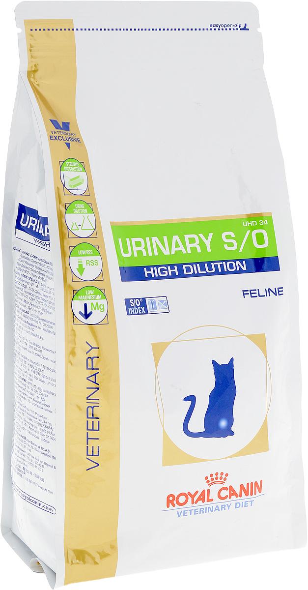 Корм сухой диетический Royal Canin Urinari Hich Dilution UHD34 для кошек, при лечении мочекаменной болезни, 1,5 кг22900Сухой корм Royal Canin Urinari Hich Dilution UHD34 - полноценный диетический рацион для кошек, рекомендуемый при воспалении нижних отделов мочевыводящих путей Корм способствует быстрому растворению струвитов и снижает риск их повторного образования.Противопоказания:- беременность, лактация, рост;- хроническая почечная недостаточность;- метаболический ацидоз;- сердечная недостаточность;- гипертония;- применение лекарственных препаратов, которые используются для подкисления мочи.Состав: рис, пшеничная клейковина, дегидратированное мясо птицы, кукурузная мука, животные жиры, кукурузная клейковина, минеральные вещества, растительная клетчатка, гидролизат животных белков, рыбий жир, соевое масло, фруктооли- госахариды (ФОС), яичный порошок, гидролизат панциря ракообразных (источник глюкозамина), экстракт бархатцев прямостоячих (источник лютеина).Добавки (на 1 кг) питательные добавки: витамин А: 22200 МЕ, витамин D3: 500 МЕ, железо: 45 мг, йод: 3 мг, медь: 7 мг, марганец: 59 мг, цинк: 192 мг.Консервант: сорбат калия. Антиокислители: пропилгаллат, БГА.Содержание питательных веществ: белки 34,5%, жиры 15%, минеральные вещества 9,4%, клетчатка пищевая 2,8%, кальций 0,9%, фосфор 0,9%, натрий 1,3%, хлориды 2,38%, калий 1%, магний 0,05%, сера 0,5%, общий таурин 0,21%, медь 15 мг/кг, вещества подкисляющие мочу: кальция сульфат (7,4 г/кг), DL-метионин.Товар сертифицирован.Чем кормить пожилых кошек: советы ветеринара. Статья OZON Гид