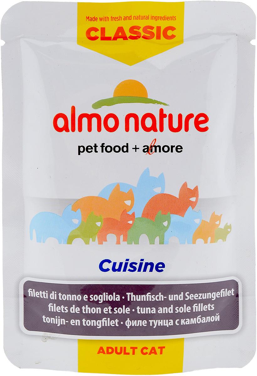 """Консервы для взрослых кошек Almo Nature """"Classic Cuisine"""", филе тунца с камбалой, 55 г"""