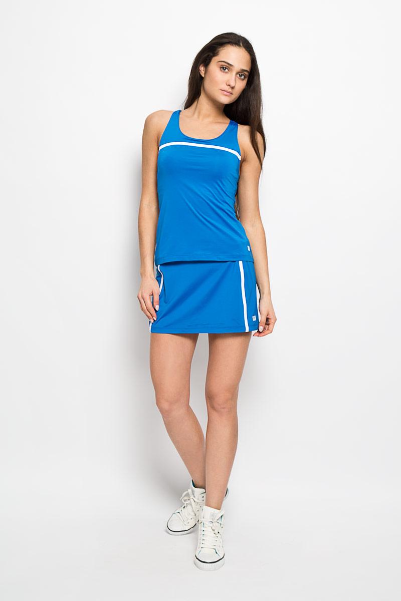 Майка для тенниса женская Wilson Rush Color Inset, цвет: голубой. WRA724604. Размер XS (40/42)WRA724604Стильная женская майка для тенниса Wilson Rush Color Inset, выполненная из полиэстера с добавлением эластана, обладает высокой теплопроводностью, воздухопроницаемостью и гигроскопичностью и великолепно отводит влагу, оставляя тело сухим даже во время интенсивных тренировок. Модель с круглым вырезом горловины и бретельками, переплетающимися на спинке - идеальный вариант для занятий спортом. Такая майка обеспечит свободу движений. Эргономичные швы минимизируют натирание кожи, исключая дискомфорт. Спинка дополнена вставкой из дышащего материала. Модель оснащена поддерживающим топом на эластичной резинке.Такая майка подарит вам комфорт в течение всей игры и послужит замечательным дополнением к вашему гардеробу.