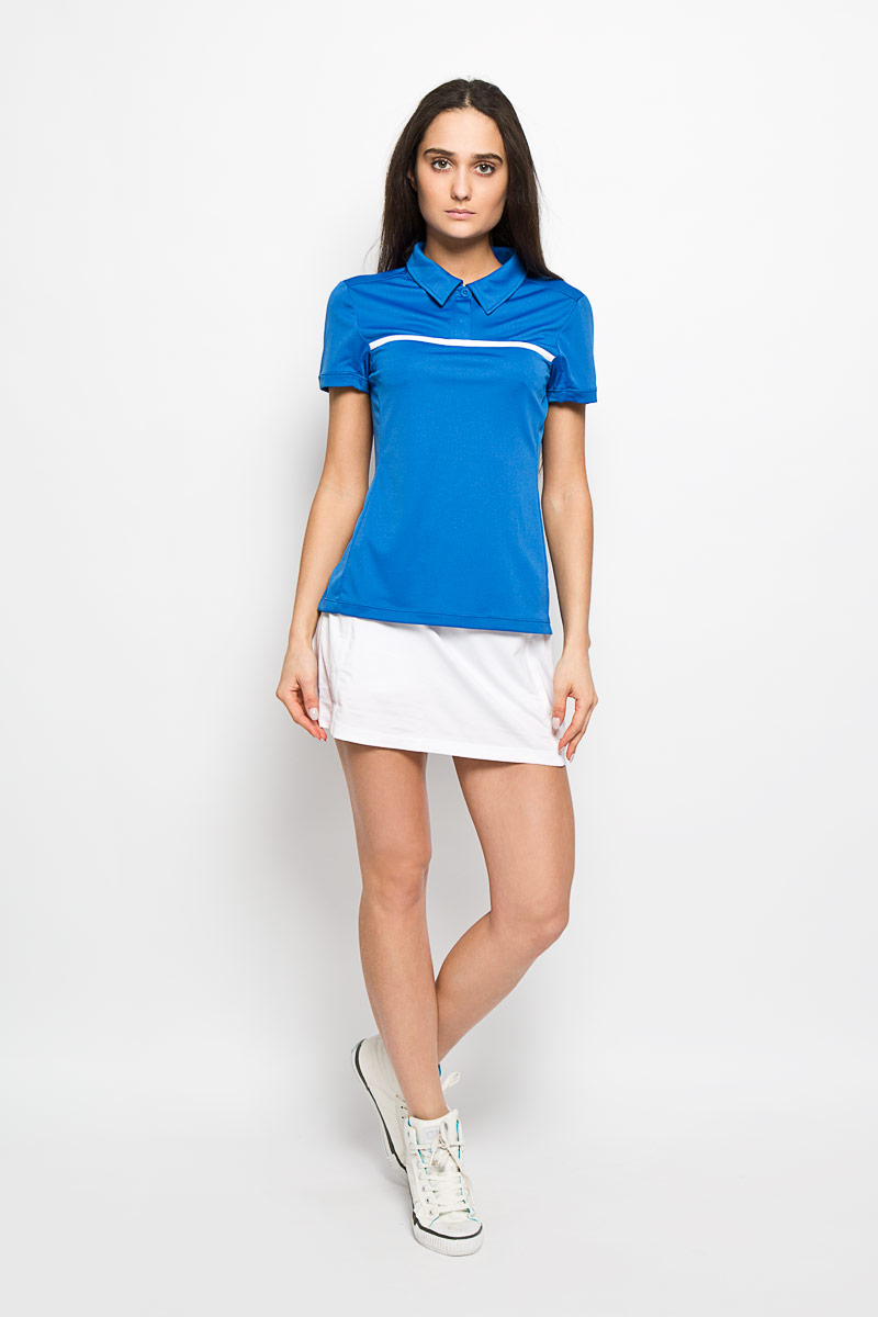 Поло для тенниса женское Wilson Rush Color Inset, цвет: голубой, белый. WRA724802. Размер M (44/46)WRA724802Стильная женская футболка-поло для тенниса Wilson Rush Color Inset, выполненная из полиэстера, обладает высокой теплопроводностью, воздухопроницаемостью и гигроскопичностью и великолепно отводит влагу, оставляя тело сухим даже во время интенсивных тренировок. Модель с короткими рукавами и отложным воротником - идеальный вариант для занятий спортом. Такая футболка-поло обеспечит свободу движений. Эргономичные швы минимизируют натирание кожи, исключая дискомфорт. Боковые стороны модели и рукава дополнены перфорацией, которая обеспечивает циркуляцию воздуха. Сверху футболка-поло застегивается на две пластиковые пуговицы. Такая футболка-поло подарит вам комфорт в течение всей игры и послужит замечательным дополнением к вашему гардеробу.