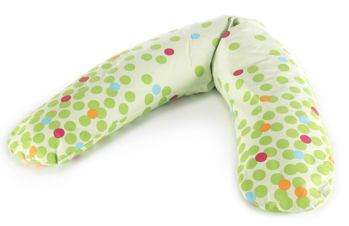 TheraLine Подушка для беременных и кормящих мам Кружки цвет зеленый длина 170 см52021800Подушка Theraline необходима для беременных и кормящих мам во время сна, отдыха и кормления малыша. Наполнитель представляет собой мелкие (всего 0,5-1,5 мм) полистироловые шарики, гипоаллергенный, без запаха, абсолютно безвредный для здоровья,что подтверждено результатами немецкого OKO-Test.Список вещей в роддом. Статья OZON Гид