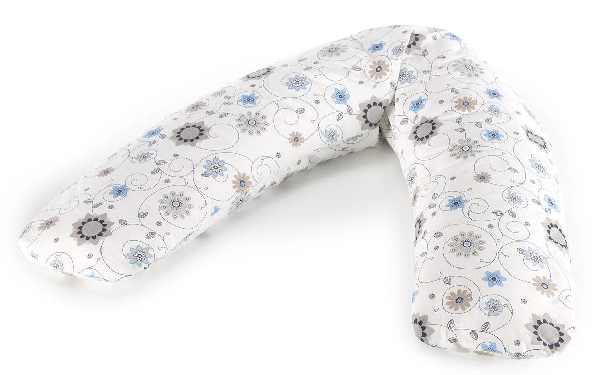 TheraLine Подушка для беременных и кормящих мам Цветы цвет экрю 170 см