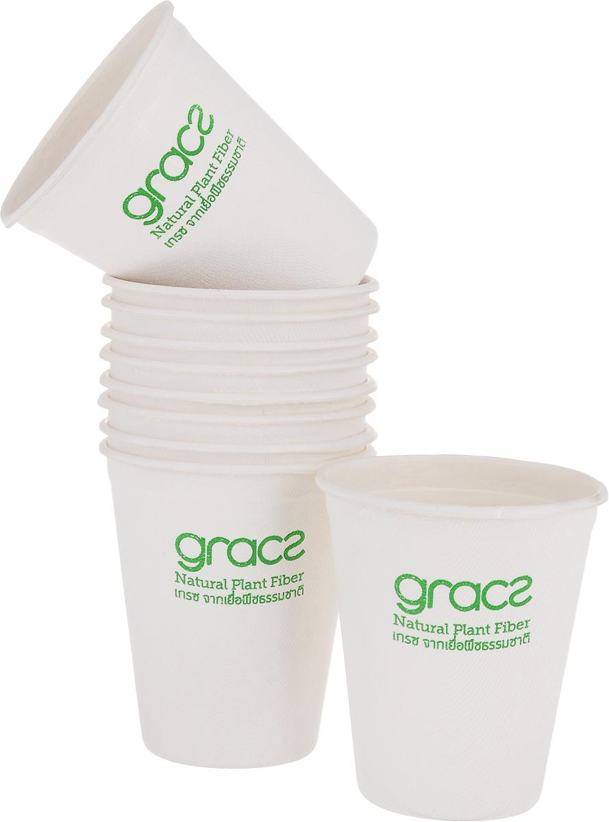 """Набор """"Gracs"""" состоит из 10 биоразлагаемых стаканов, выполненных из экологически чистого материала - сахарного тростника. Материал не содержит токсинов и канцерогенов. Набор """"Gracs"""" можно использовать как для холодных, так и для горячих продуктов.Набор можно использовать в микроволновой печи.  Одноразовая биоразлагаемая посуда """"Gracs""""- полезно для здоровья, безопасно для окружающей среды!Высота стакана: 5,5 см.Диаметр стакана: 7,5 см."""