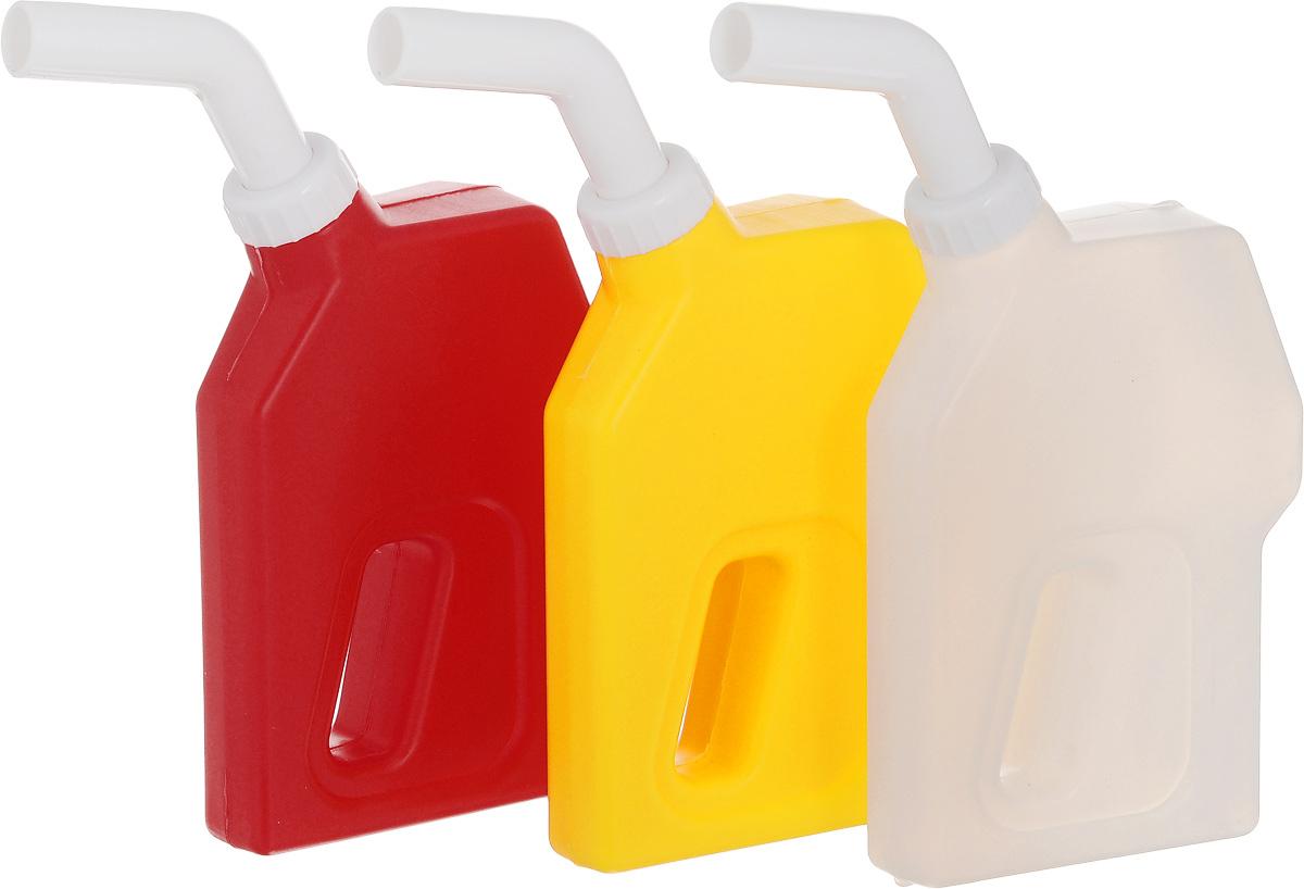 Набор соусников Эврика Заправься, 3 предмета96880Набор Эврика Заправься состоит из трех удобных соусников-канистр. Горлышко-дозатор легко снимается, позволяя заправить емкость кетчупом, горчицей или майонезом, соответственно цветам корпуса. Такой набор - это симпатичный подарок автомобилистам или оригинальный корпоративный сувенир для работников нефтяной промышленности.Размер канистры (без учета носика): 7,5 х 3,5 х 12 см.Длина носика: 7 см.