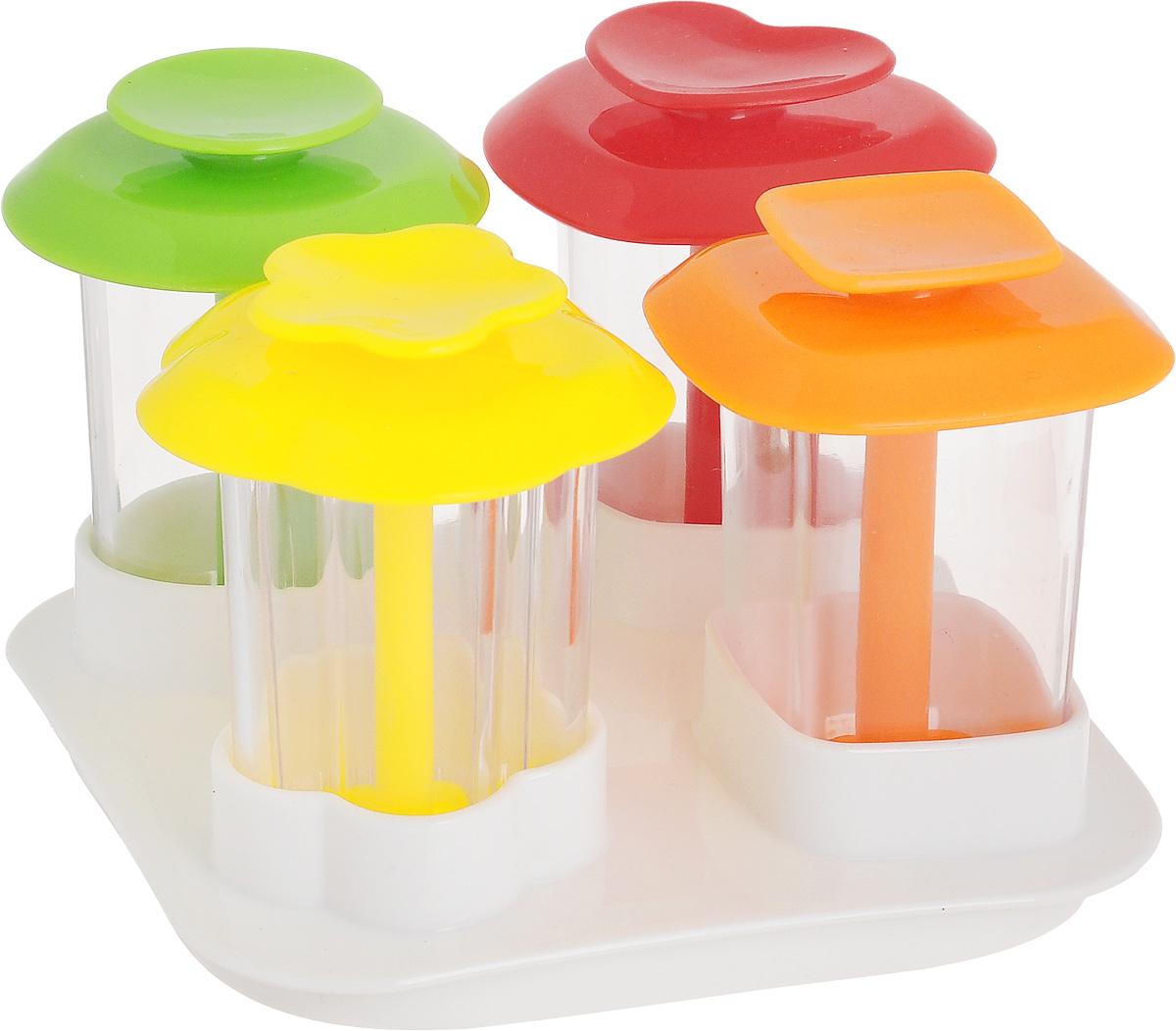 Форма для канапе Tescoma Presto Foodstyle, с крышкой-подставкой, 4 шт422240Набор форм для канапе Tescoma Presto Foodstyle, изготовленный из прочного пластика, отлично подходит для придания формы блюдам и легкого приготовления слоистых гарниров, десертов. В комплект входит универсальная крышка для хранения. Можно мыть в посудомоечной машине. Инструкция по применению с рецептами прилагается внутри.Размер формы в виде сердца: 5,5 х 5 х 6,5 см.Размер формы в виде цветка: 5,5 х 5,5 х 6,5 см.Размер круглой формы: 5 х 5 х 6,5 см.Размер квадратной формы: 5 х 5 х 6,5 см.Размер крышки-подставки: 10 х 10 х 2,5 см.Средний размер канапе: 3,5 х 3,5 х 6 см.
