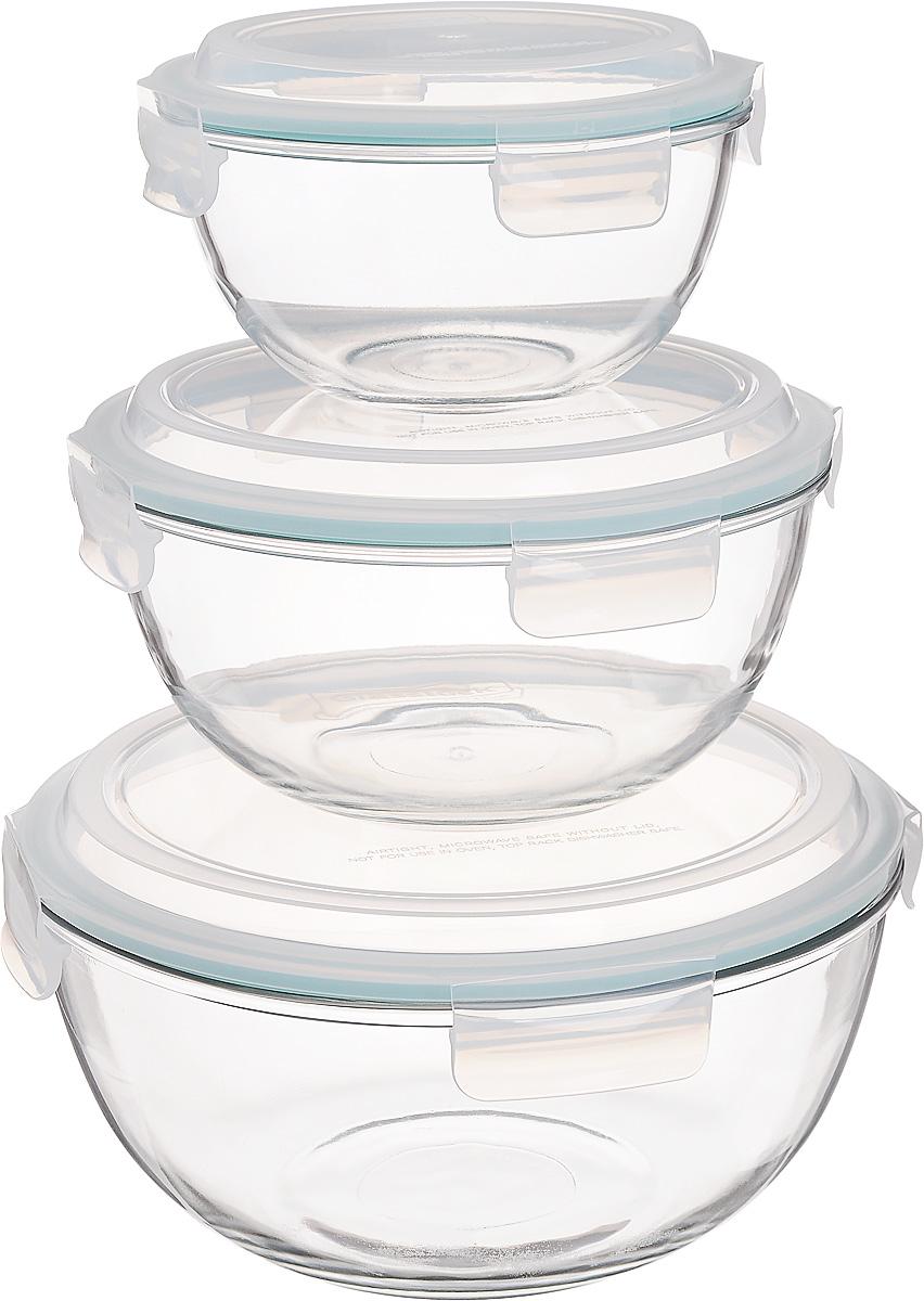 Набор круглых чаш Glasslock, с крышками, 3 шт. GL-532 kitchenaid набор круглых чаш для запекания смешивания 1 4 л 1 9 л 2 8 л 3 шт кремовые