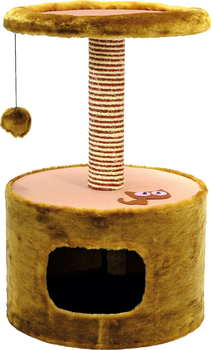 Домик для кошки Зооник, цвет: коричневый, 42 х 66 см22088/2Дом для кошек круглый Зооник изготовлен из высококачественного искусственного меха коричневого цвета. Просторный домик подойдет для котят и для взрослых кошек. Над основным местом отдыха находится дополнительная площадка, на которой ваш любимец сможет полежать свесив лапки. Также предусмотрены когтеточка из комбинированной веревки (пенька/сизаль) и подвесная игрушка. Крышу домика украшает аппликация в виде кошки. Домики ТМ Зооник отличает высокое российское качество при доступной цене.