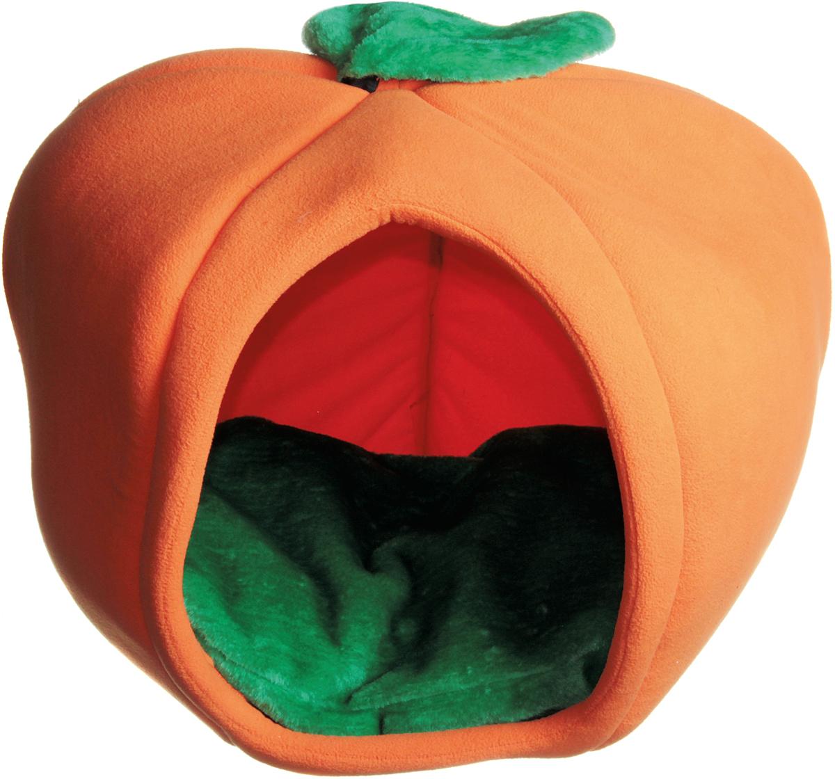 Домик для кошки Зооник Тыква, цвет: оранжевый, зеленый, 50 х 50 х 40 см22120Домик Тыква для кошек и маленьких собак обязательно понравится вашему питомцу. Изготовлен из мягкого флиса. Домик станет любимым местом отдыха вашего любимца и дополнит ваш интерьер необычным дизайном.Ваш любимец сразу же захочет забраться внутрь, там он сможет отдохнуть и спрятаться. Компактные размеры позволят поместить домик, где угодно, а приятная цветовая гамма сделает его оригинальным дополнением к любому интерьеру.
