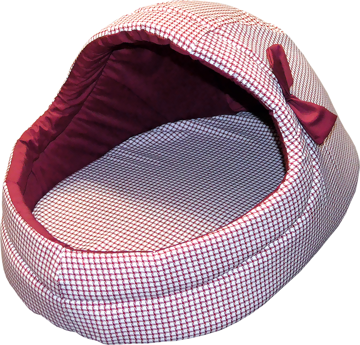 Лежак для животных Зооник  Тапок с бантиком , цвет: бордовый, 36 х 53 х 33 см - Лежаки, домики, спальные места