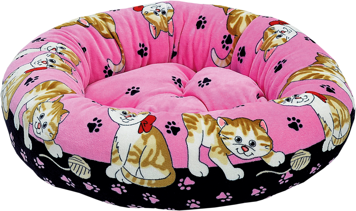 Лежак для животных Зооник, цвет: розовый, черный, 48 х 48 х 15 см наполнитель зооник древесный 5л 06234