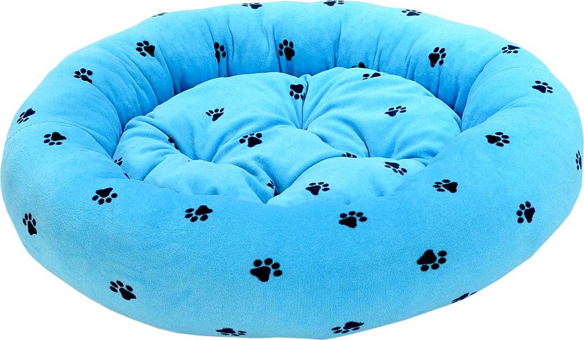 Лежак для животных Зооник Лапки, цвет: голубой, диаметр 48 см. 22306