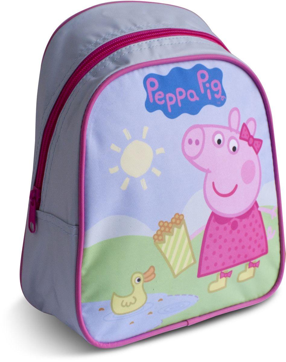 Peppa Pig Рюкзак дошкольный Пеппа и уточкаOM-671-2/1Милый дошкольный рюкзачок от Peppa Pig Пеппа и уточка - обязательно понравится каждой юной любительнице этого популярного мультфильма. Рюкзак выполнен из прочного полиэстера и водонепроницаемой ткани, украшен привлекательным принтом с изображением свинки Пеппы и уточки. Рюкзак имеет одно внутреннее отделение на молнии, регулируемые лямки и специальную ручку для размещения на вешалке, таким образом, рюкзак будет с вашей малышкой на протяжении многих лет. Порадуйте свою малышку таким замечательным подарком!
