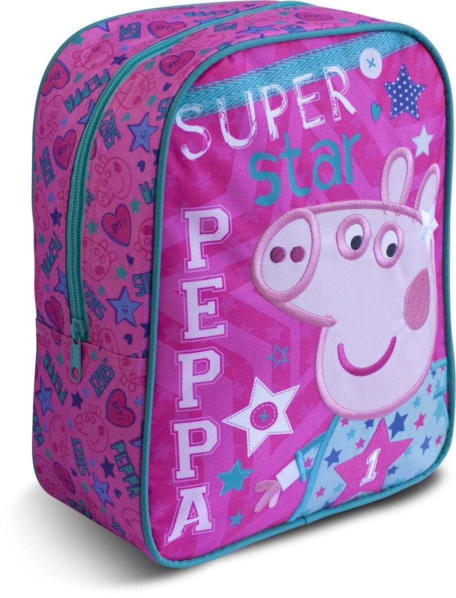 Peppa Pig Рюкзак дошкольный Superstar30286Средний дошкольный рюкзак Peppa Pig Superstar обязательно понравится каждой любительнице популярного мультфильма про Свинку Пеппу. Рюкзак выполнен из прочного полиэстера и украшен изображением свинки Пеппы (сублимированная печать). Рюкзак имеет одно отделение на молнии, регулируемые лямки и специальную ручку для размещения на вешалке. Износостойкая ткань с водоотталкивающей пропиткой сохранит содержимое рюкзака сухим.Порадуйте свою малышку таким замечательным подарком!