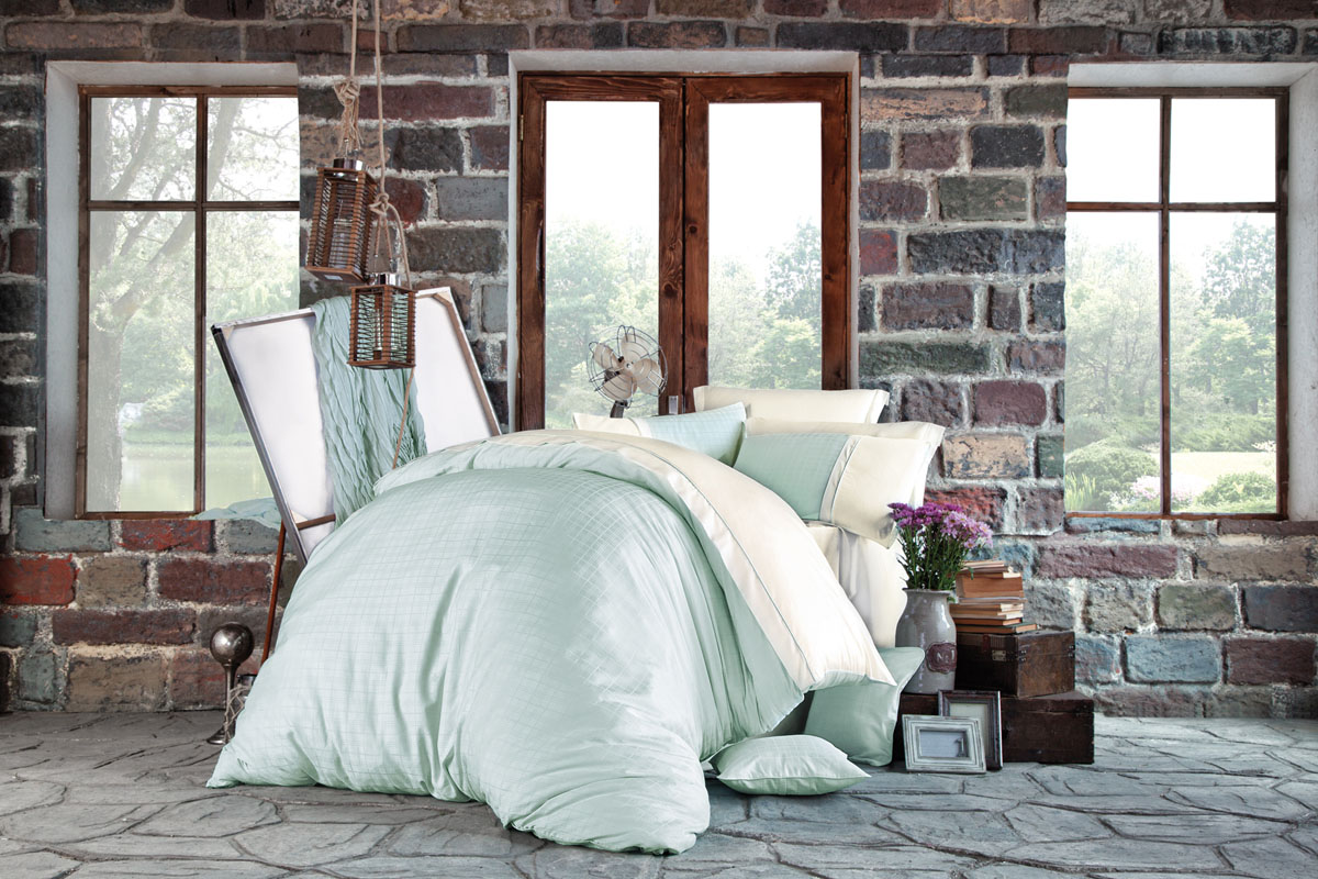 Комплект белья Issimo Home Petra, евро, наволочки 50x70, цвет: ментоловый. 4618 полотенце бамбуковое issimo home valencia цвет розовый 90 x 150 см