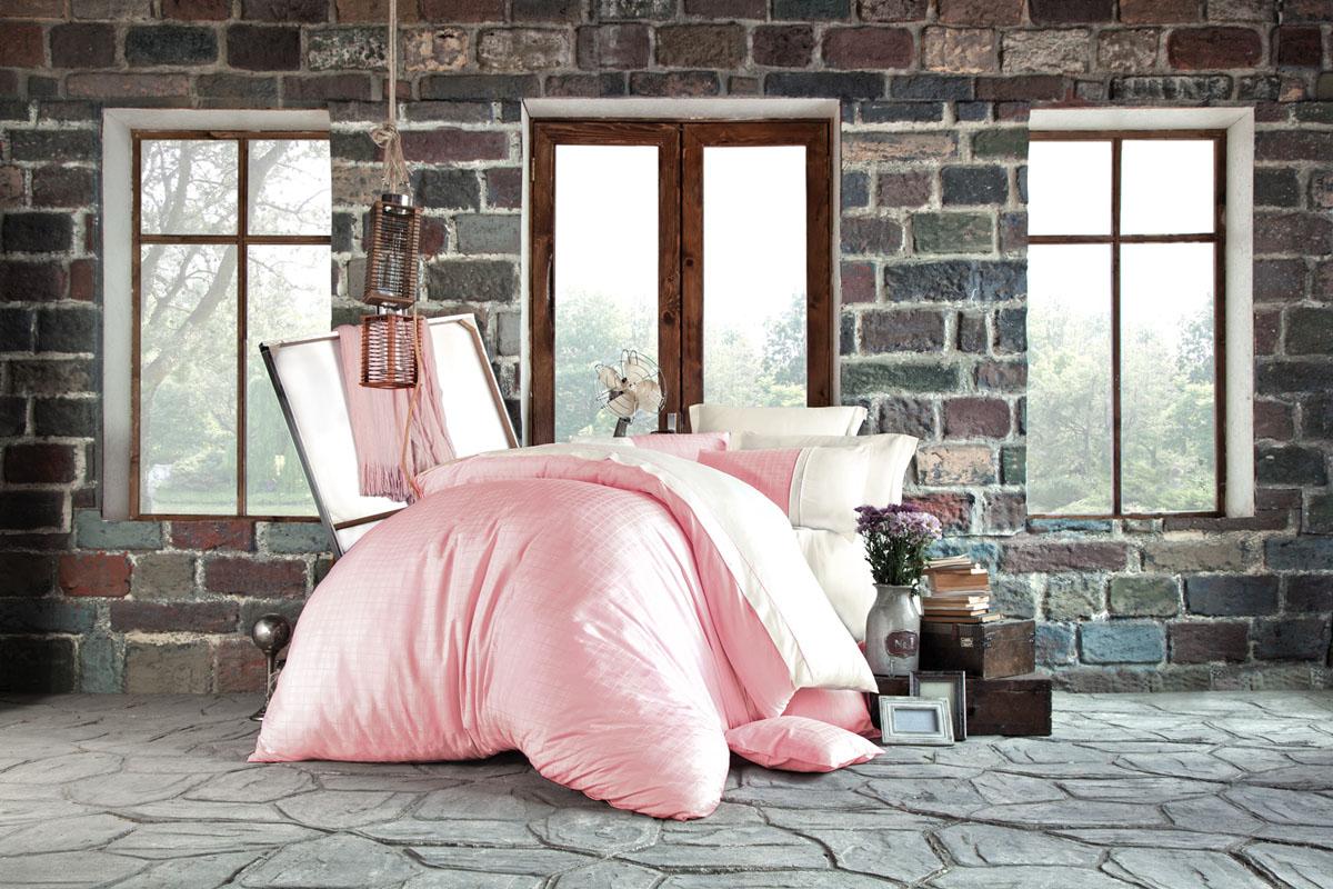 """Фото Комплект белья Issimo Home """"Petra"""", евро, наволочки 50x70, цвет: пудра. 4619"""