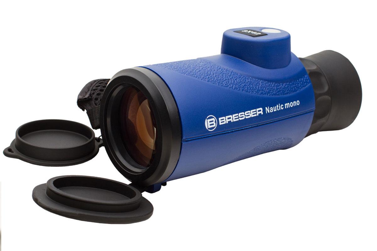 Bresser Nautic 8x42 монокуляр1866860Bresser Nautic 8x42 – это легкий и компактный монокуляр с 8-кратным увеличением, идеальный для морскихпутешествий и наблюдений в неблагоприятных погодных условиях. Превосходная оптика дает качественноеизображение, а эргономичный корпус делает использование монокуляра максимально комфортным.Оптические детали прибора изготовлены из стекла BaK-4 и имеют полное многослойное просветление. Благодаряэтому картинка отличается яркостью и четкостью, а искажения сведены к минимуму. Азотное наполнение корпусапредотвращает запотевание оптики даже при резких перепадах температур.Для точного ориентирования во время наблюдений прибор имеет встроенный компас и дальномерную сетку.Монокуляр выполнен в прочном герметичном корпусе с резиновым покрытием. Ремешок для руки позволяетнадежно удерживать прибор во время наблюдения. Монокуляр значительно компактнее и легче бинокля, поэтомуего удобнее брать с собой.